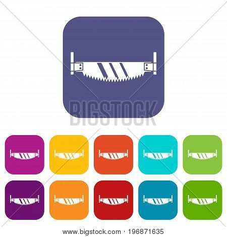 Two handled saw icons set vector illustration in flat style in colors red, blue, green, and other