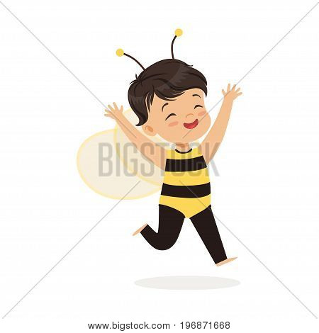 Cute happy little girl dressed as a bee, kids carnival costume vector Illustration isolated on a white background
