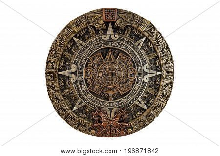 Ancient Aztec calendar general view on white