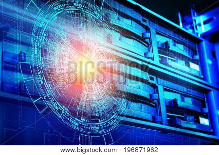 concept of disk storage data center. Information technology and e on technological background