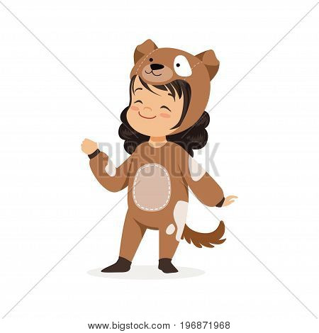 Cute happy little girl dressed as a brown puppy, kids carnival costume vector Illustration isolated on a white background