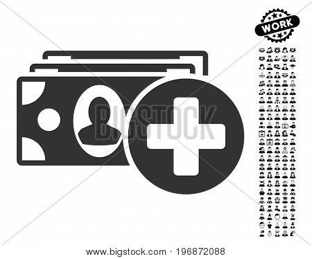 Medical Expences icon with black bonus people clip art. Medical Expences vector illustration style is a flat gray iconic symbol for web design, app user interfaces.