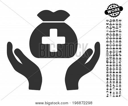 Medical Fund Care Hands icon with black bonus job graphic icons. Medical Fund Care Hands vector illustration style is a flat gray iconic element for web design, app user interfaces.