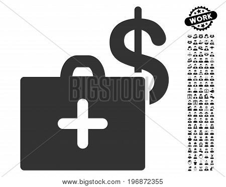 Medical Fund Case icon with black bonus men images. Medical Fund Case vector illustration style is a flat gray iconic element for web design, app user interfaces.
