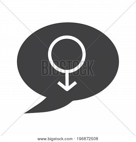 Men's consultation glyph icon. Silhouette symbol. Chat box with men gender sign inside. Negative space. Vector isolated illustration