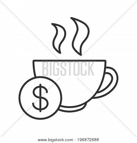 Buy cup of tea linear icon. Thin line illustration. Hot steaming mug with dollar sign. Contour symbol. Vector isolated outline drawing