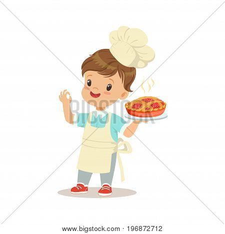 Cute little boy holding a freshly cooked pie vector Illustration isolated on a white background