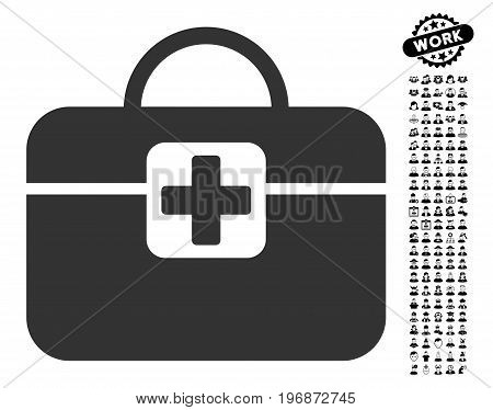 Medical Kit icon with black bonus work icon set. Medical Kit vector illustration style is a flat gray iconic symbol for web design, app user interfaces.