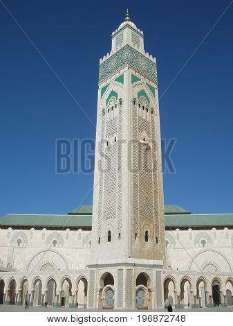 Minaret of Hassan II mosque in Casablanca, Morocco,