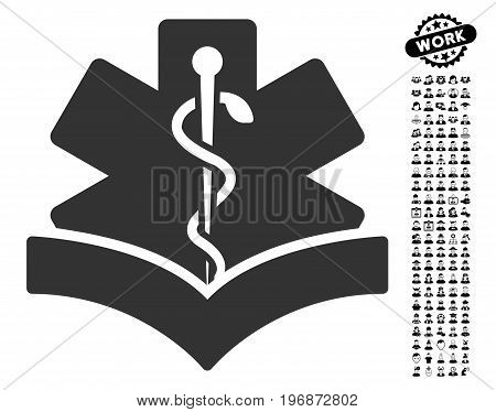 Medical Knowledge icon with black bonus professional pictures. Medical Knowledge vector illustration style is a flat gray iconic symbol for web design, app user interfaces.
