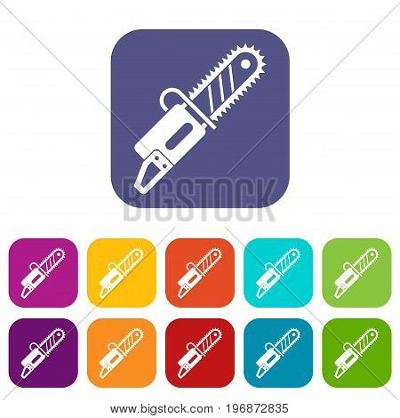 Chainsaw icons set vector illustration in flat style in colors red, blue, green, and other