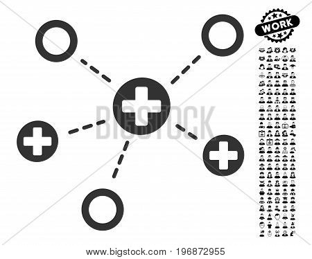 Medical Links icon with black bonus men symbols. Medical Links vector illustration style is a flat gray iconic symbol for web design, app user interfaces.