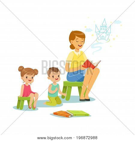 Teacher reading a fairytale to kids in preschool or kindergarten, colorful characters vector Illustration
