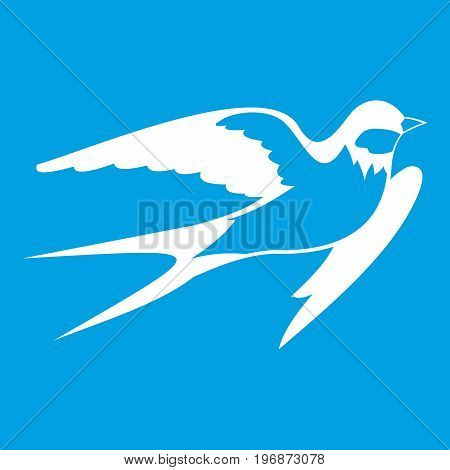 Barn swallow icon white isolated on blue background vector illustration