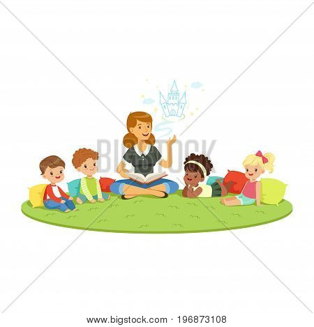 Teacher reading a fairytale to kids while sitiing on a carpet, childrens education and upbringing in school, preschool or kindergarten, colorful characters vector Illustration