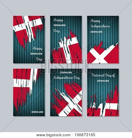 Denmark Patriotic Cards For National Day. Expressive Brush Stroke In National Flag Colors On Dark St
