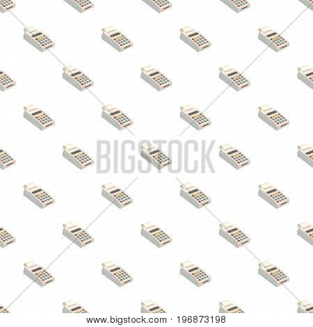 POS terminal with pattern seamless repeat in cartoon style vector illustration