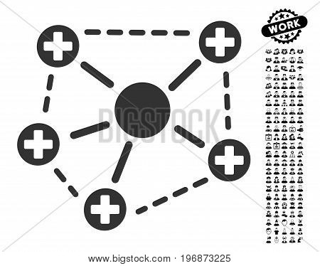 Medical Network Structure icon with black bonus people images. Medical Network Structure vector illustration style is a flat gray iconic element for web design, app user interfaces.