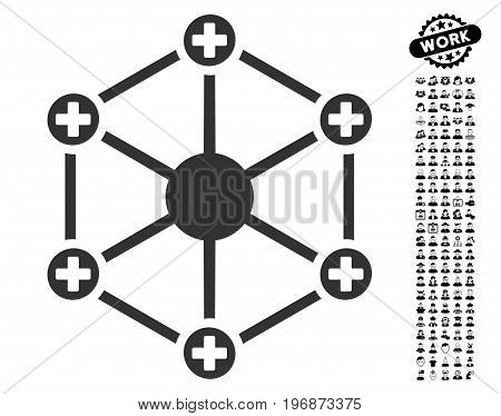 Medical Network icon with black bonus work pictograms. Medical Network vector illustration style is a flat gray iconic symbol for web design, app user interfaces.