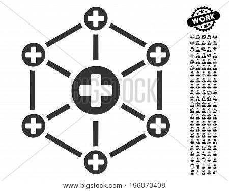 Medical Network icon with black bonus profession icon set. Medical Network vector illustration style is a flat gray iconic symbol for web design, app user interfaces.