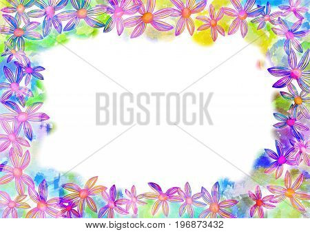 A digitally painted watercolour border decoration with pink flowers.