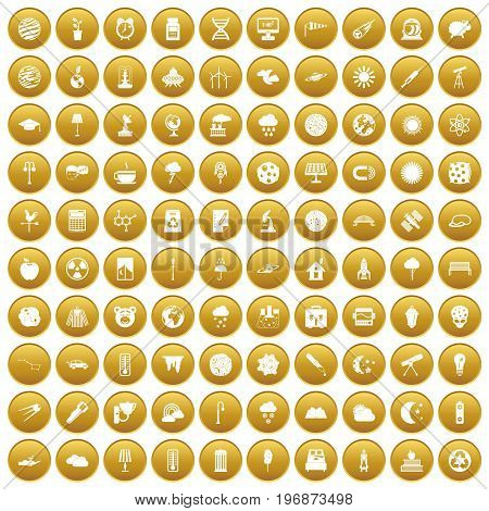 100 moon icons set in gold circle isolated on white vector illustration