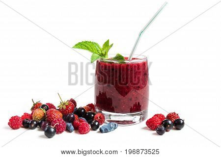 Berry cocktail of fresh berries on a white background.