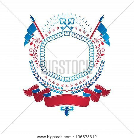 Graphic emblem made with Old Turnkey Key element flags and majestic ribbon. Heraldic Coat of Arms decorative logo isolated vector illustration