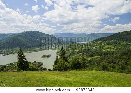 River and summer nature on Bistrita Valley