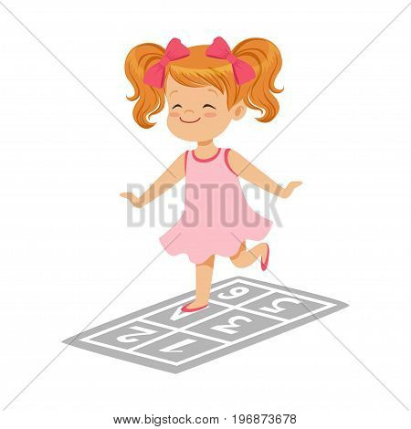 Beautiful little girl in a pink dress playing hopscotch, colorful character vector Illustration on a white background