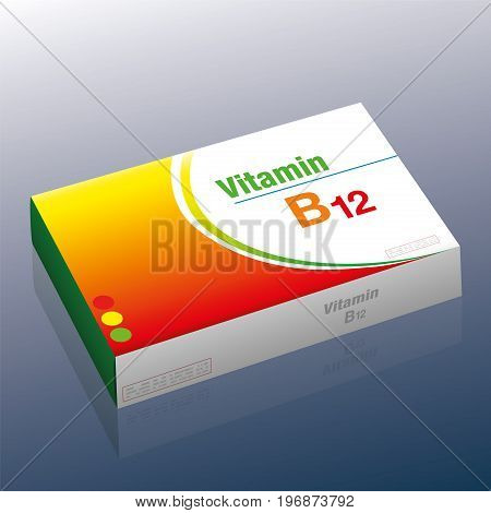Vitamin B12 pills - as a supplement to healthy diet and conscious nutrition for vegetarians and vegans - medical dummy packet with tablets that prevent vitamin deficiency.