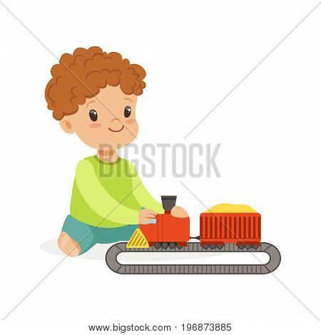 Sweet little boy playing playing with toy railway road and train, colorful character vector Illustration on a white background