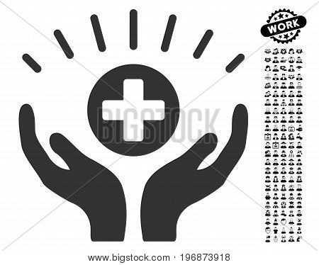 Medical Prosperity icon with black bonus job icon set. Medical Prosperity vector illustration style is a flat gray iconic symbol for web design, app user interfaces.