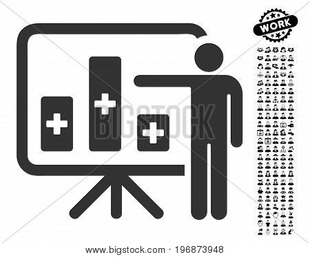 Medical Public Report icon with black bonus men pictures. Medical Public Report vector illustration style is a flat gray iconic element for web design, app user interfaces.