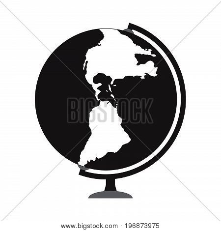 Globus icon over white background design illustration