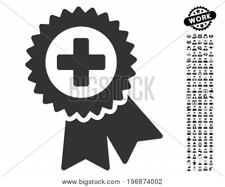 Medical Quality Seal icon with black bonus profession design elements. Medical Quality Seal vector illustration style is a flat gray iconic symbol for web design, app user interfaces.