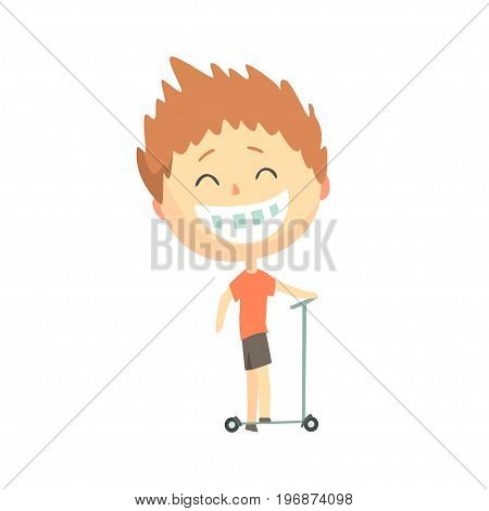 Happy smiling cartoon boy riding a kick scooter, kids outdoor activity, colorful character vector Illustration isolated on a white background