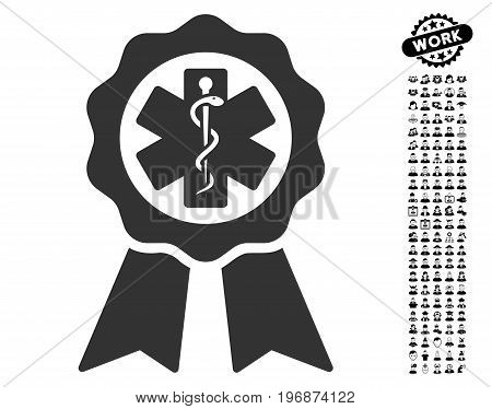 Medical Seal icon with black bonus work symbols. Medical Seal vector illustration style is a flat gray iconic symbol for web design, app user interfaces.