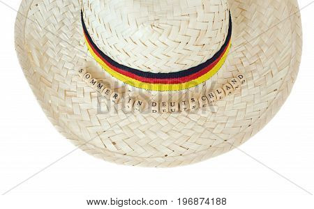 straw hat germany with german text for summer in germany, isolated on white