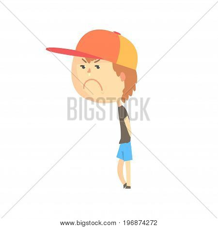 Sad offended cartoon boy standing, colorful character vector Illustration isolated on a white background