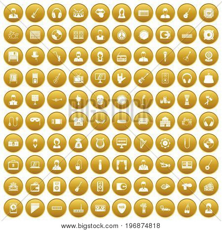 100 music icons set in gold circle isolated on white vector illustration