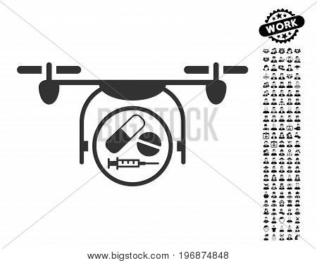 Medication Quadcopter vector illustration style is a flat gray iconic element for web design, app user interfaces.