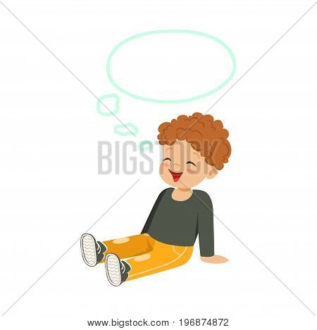 Sweet little redhead boy dreaming with a thought bubble sitting on the floor, kids imagination and fantasy, colorful character vector Illustration isolated on a white background
