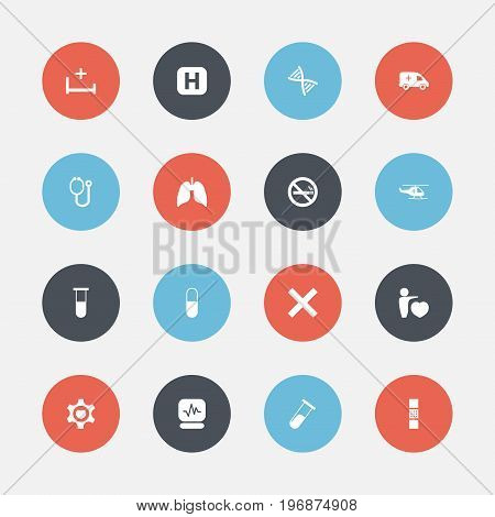 Set Of 16 Editable Hospital Icons. Includes Symbols Such As Medical Aviation, Emergency, Genome And More