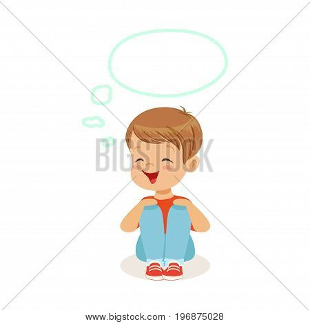 Adorable little boy dreaming with a thought bubble sitting on the floor, kids imagination and fantasy, colorful character vector Illustration isolated on a white background