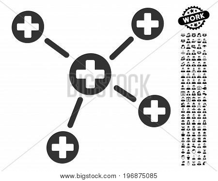 Medicine Links icon with black bonus people pictures. Medicine Links vector illustration style is a flat gray iconic element for web design, app user interfaces.