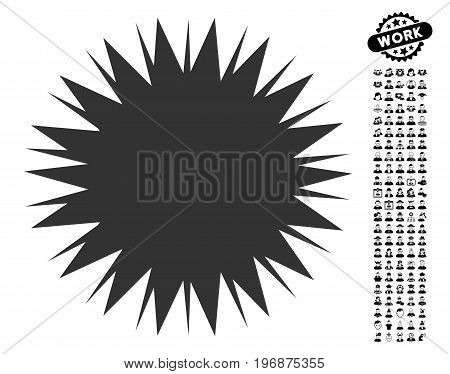 Microbe Spore icon with black bonus work pictograms. Microbe Spore vector illustration style is a flat gray iconic element for web design, app user interfaces.