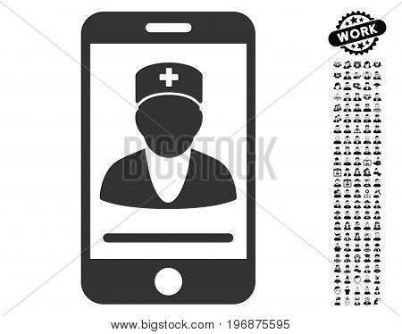 Mobile Doctor icon with black bonus job pictograms. Mobile Doctor vector illustration style is a flat gray iconic element for web design, app user interfaces.