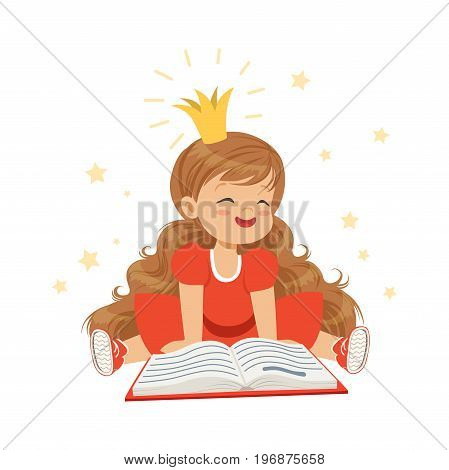 Lovely little girl in a crown and a red dress reading a book, kids imagination and fantasy, colorful character vector Illustration isolated on a white background