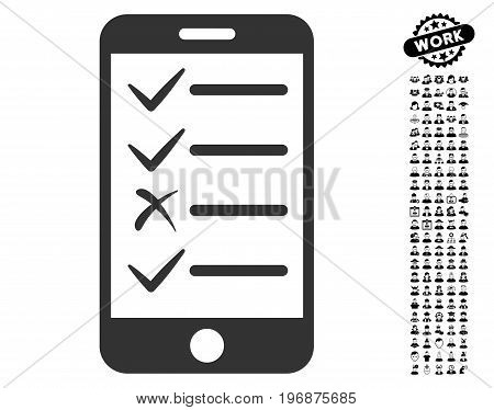 Mobile Test icon with black bonus job graphic icons. Mobile Test vector illustration style is a flat gray iconic element for web design, app user interfaces.